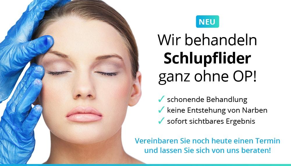 Anzeige Schlupflider - Straffung der oberen und unteren Augenlider mit Plasmatechnologie